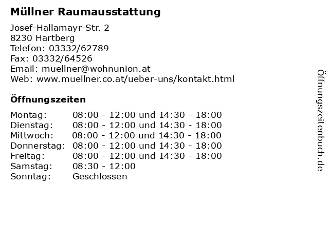 Müllner Raumausstattung in Hartberg: Adresse und Öffnungszeiten