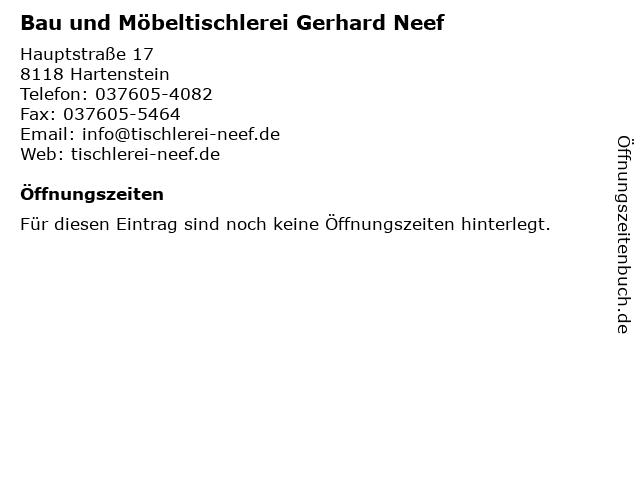 Bau und Möbeltischlerei Gerhard Neef in Hartenstein: Adresse und Öffnungszeiten