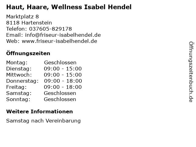 Haut, Haare, Wellness Isabel Hendel in Hartenstein: Adresse und Öffnungszeiten
