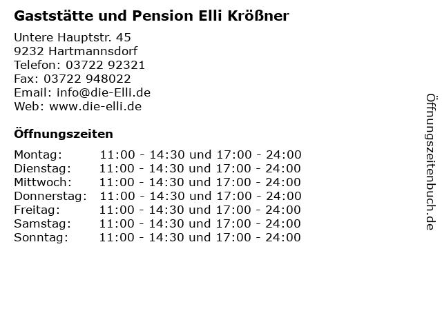 Gaststätte und Pension Elli Krößner in Hartmannsdorf: Adresse und Öffnungszeiten