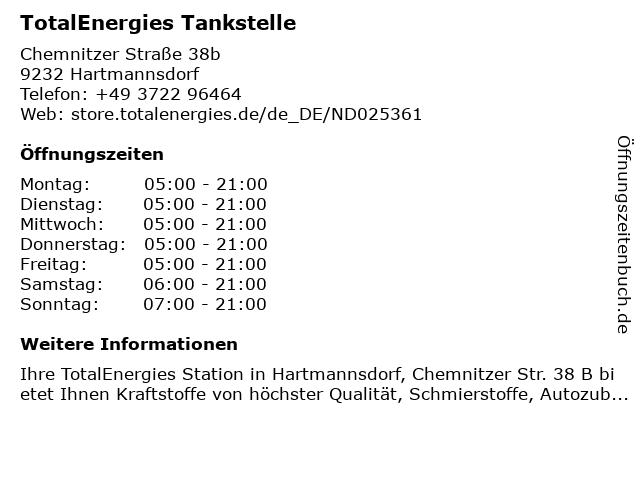 TotalEnergies Tankstelle in Hartmannsdorf: Adresse und Öffnungszeiten