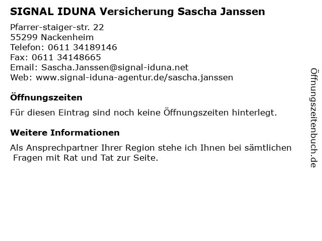 SIGNAL IDUNA Versicherung Sascha Janssen in Harxheim: Adresse und Öffnungszeiten