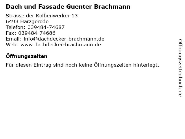 Dach und Fassade Guenter Brachmann in Harzgerode: Adresse und Öffnungszeiten