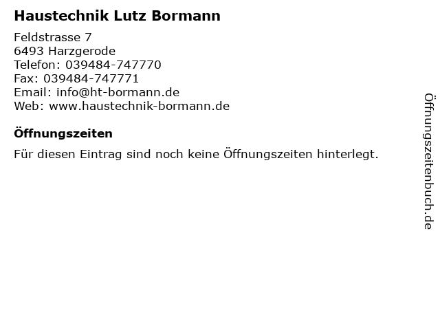 Haustechnik Lutz Bormann in Harzgerode: Adresse und Öffnungszeiten