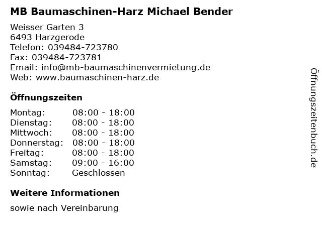 MB Baumaschinen-Harz Michael Bender in Harzgerode: Adresse und Öffnungszeiten