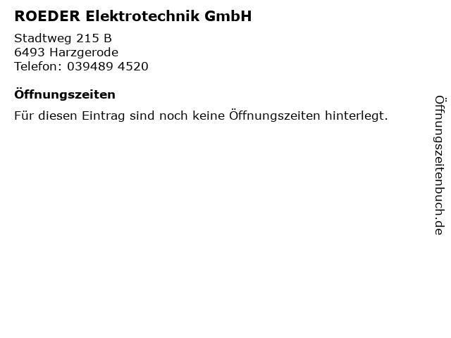 ROEDER Elektrotechnik GmbH in Harzgerode: Adresse und Öffnungszeiten