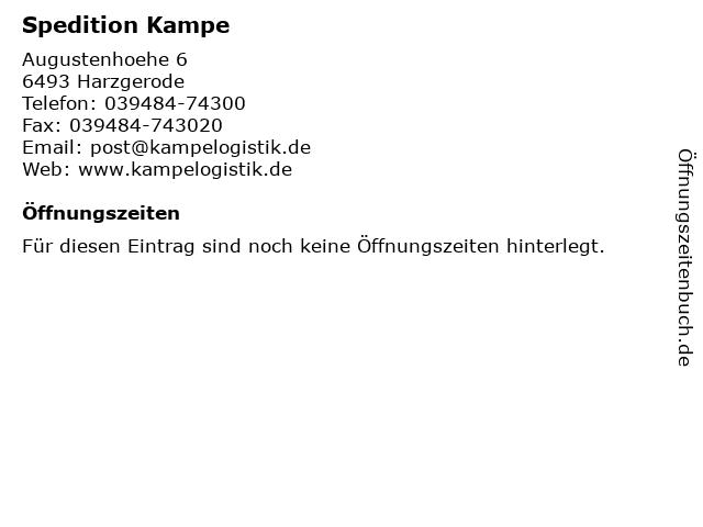 Spedition Kampe in Harzgerode: Adresse und Öffnungszeiten