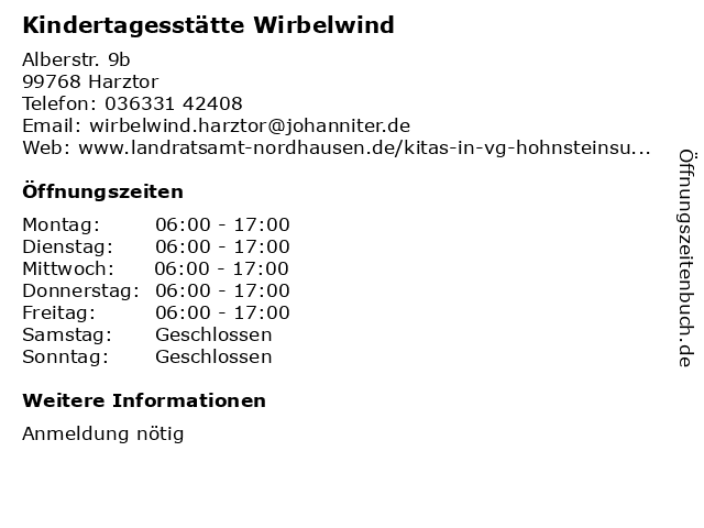 Kindertagesstätte Wirbelwind in Harztor: Adresse und Öffnungszeiten