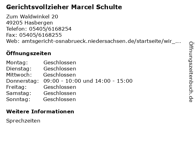 Gerichtsvollzieher Marcel Schulte in Hasbergen: Adresse und Öffnungszeiten