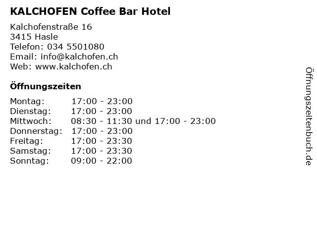 KALCHOFEN Coffee Bar Hotel in Hasle: Adresse und Öffnungszeiten