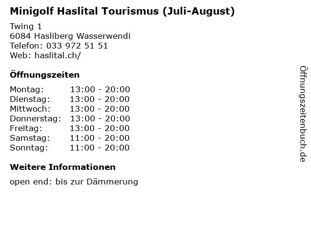 Minigolf Haslital Tourismus (Juli-August) in Hasliberg Wasserwendi: Adresse und Öffnungszeiten