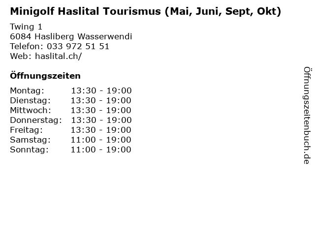 Minigolf Haslital Tourismus (Mai, Juni, Sept, Okt) in Hasliberg Wasserwendi: Adresse und Öffnungszeiten