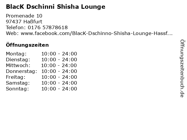 BlacK Dschinni Shisha Lounge in Haßfurt: Adresse und Öffnungszeiten