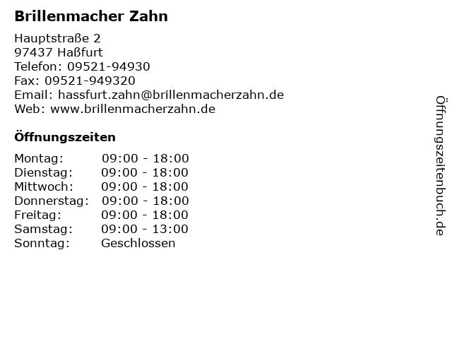 Brillenmacher Zahn in Haßfurt: Adresse und Öffnungszeiten