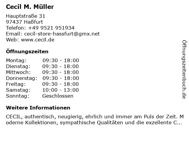 Cecil M. Müller in Haßfurt: Adresse und Öffnungszeiten