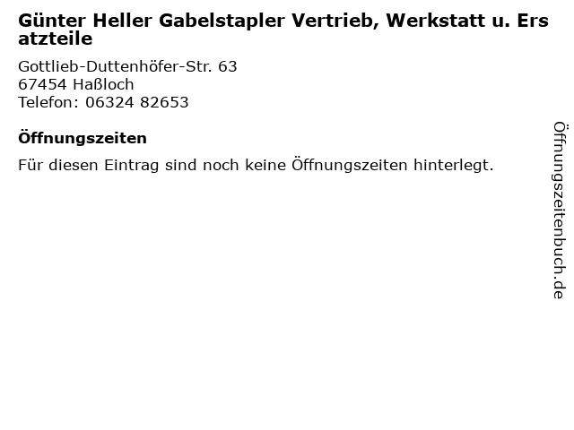 Günter Heller Gabelstapler Vertrieb, Werkstatt u. Ersatzteile in Haßloch: Adresse und Öffnungszeiten