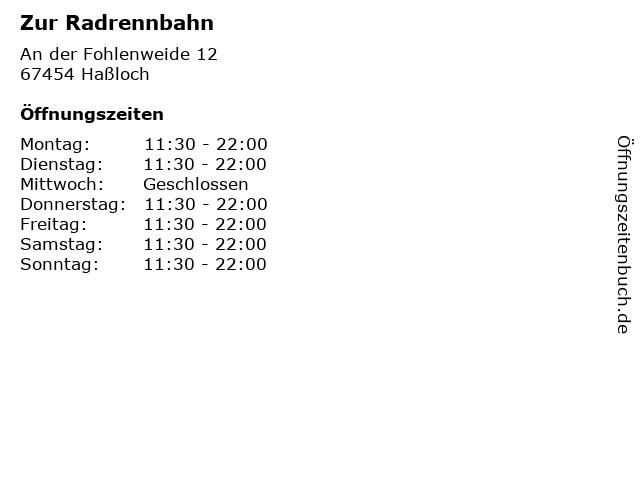 Zur Radrennbahn in Haßloch: Adresse und Öffnungszeiten