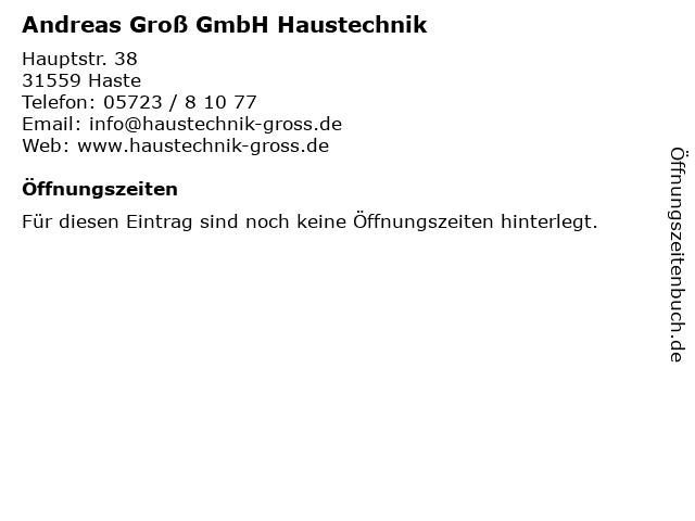 Andreas Groß GmbH Haustechnik in Haste: Adresse und Öffnungszeiten