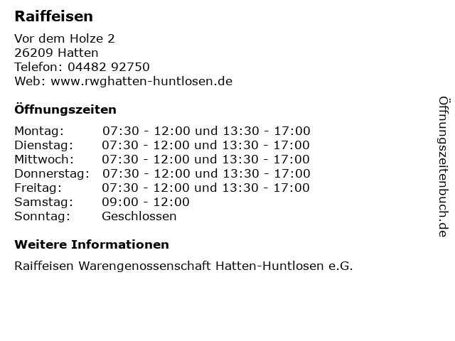 Raiffeisen in Hatten: Adresse und Öffnungszeiten