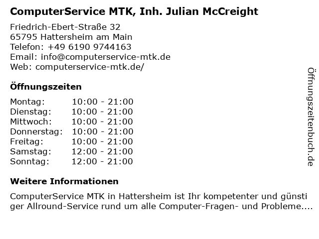 ComputerService MTK, Inh. Julian McCreight in Hattersheim am Main: Adresse und Öffnungszeiten