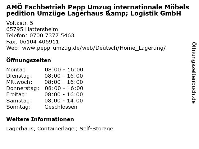 AMÖ Fachbetrieb Pepp Umzug internationale Möbelspedition Umzüge Lagerhaus & Logistik GmbH in Hattersheim: Adresse und Öffnungszeiten