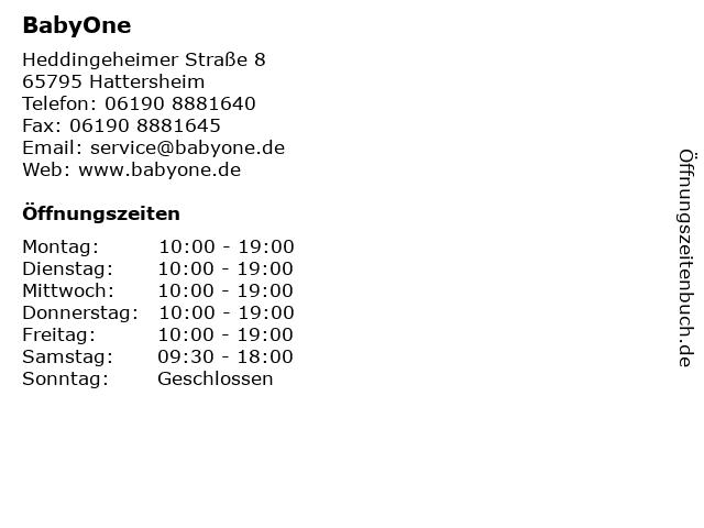 BabyOne in Hattersheim: Adresse und Öffnungszeiten