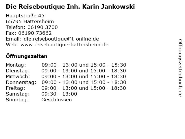 Die Reiseboutique Inh. Karin Jankowski in Hattersheim: Adresse und Öffnungszeiten