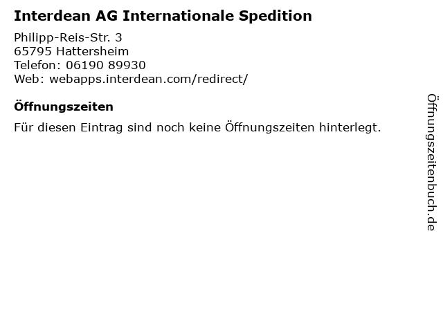 Interdean AG Internationale Spedition in Hattersheim: Adresse und Öffnungszeiten