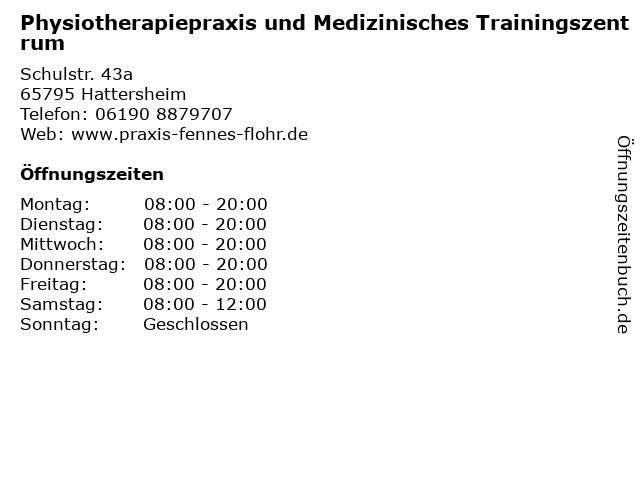 Physiotherapiepraxis und Medizinisches Trainingszentrum in Hattersheim: Adresse und Öffnungszeiten
