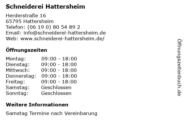 Schneiderei Hattersheim in Hattersheim: Adresse und Öffnungszeiten