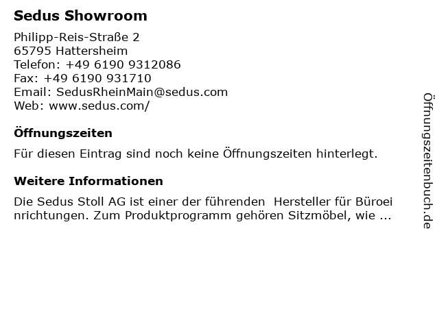 Sedus Stoll AG - Showroom Rhein-Main Brigitte Reiß-Niemeyer in Hattersheim: Adresse und Öffnungszeiten