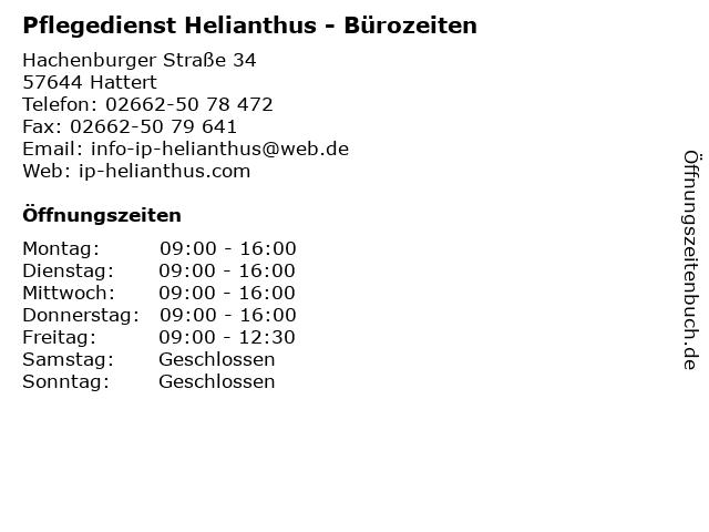 Pflegedienst Helianthus - Bürozeiten in Hattert: Adresse und Öffnungszeiten