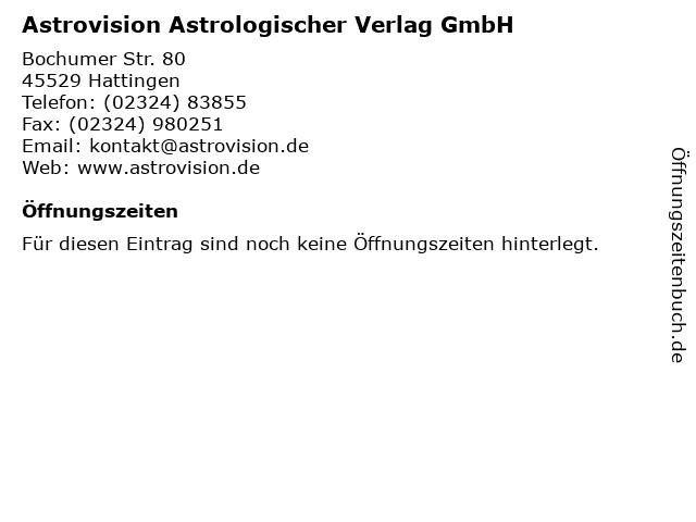 Astrovision Astrologischer Verlag GmbH in Hattingen: Adresse und Öffnungszeiten