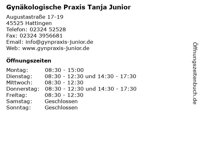 Gynäkologische Praxis Tanja Junior in Hattingen: Adresse und Öffnungszeiten