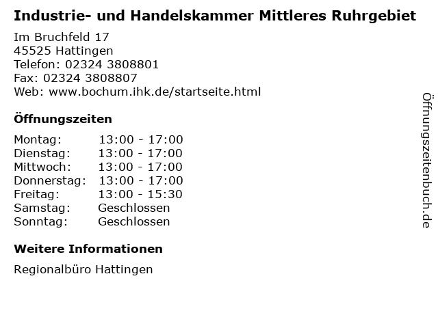 Industrie- und Handelskammer Mittleres Ruhrgebiet in Hattingen: Adresse und Öffnungszeiten