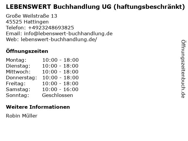 LEBENSWERT Buchhandlung UG (haftungsbeschränkt) in Hattingen: Adresse und Öffnungszeiten