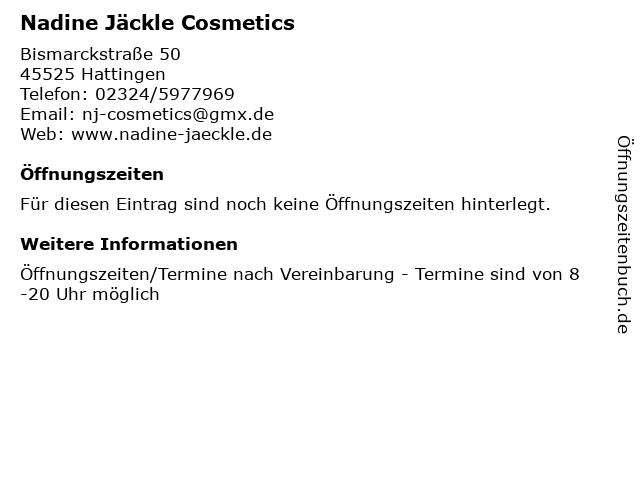 Nadine Jäckle Cosmetics in Hattingen: Adresse und Öffnungszeiten