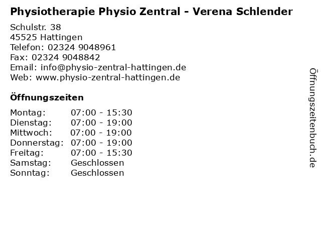 Physiotherapie Physio Zentral - Verena Schlender in Hattingen: Adresse und Öffnungszeiten
