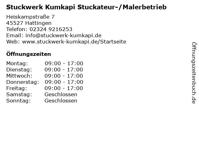 Stuckwerk Kumkapi Stuckateur-/Malerbetrieb in Hattingen: Adresse und Öffnungszeiten