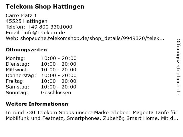 Telekom Shop Hattingen in Hattingen: Adresse und Öffnungszeiten