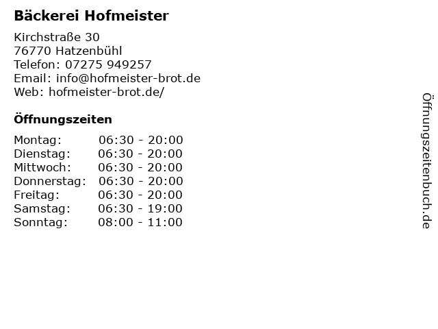 Bäckerei Hofmeister in Hatzenbühl: Adresse und Öffnungszeiten