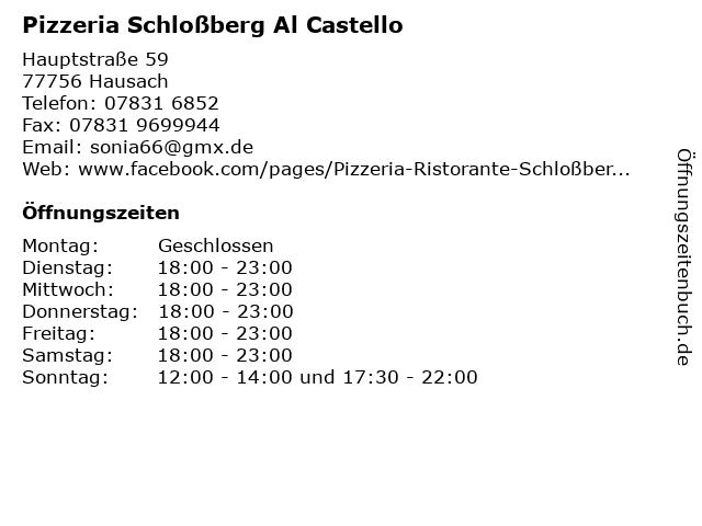 Pizzeria Schloßberg Al Castello in Hausach: Adresse und Öffnungszeiten