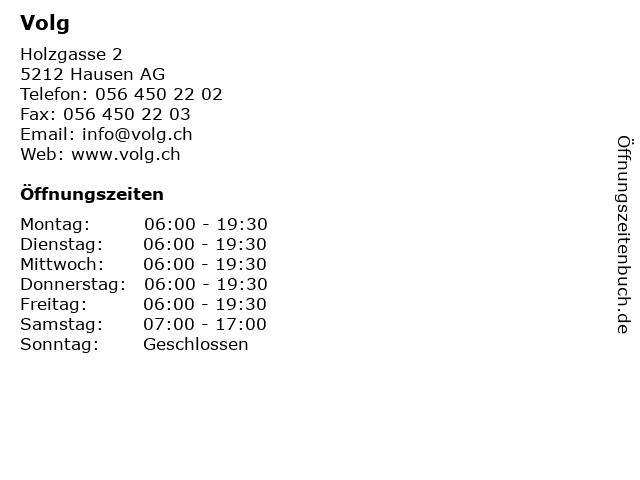 Volg in Hausen AG: Adresse und Öffnungszeiten