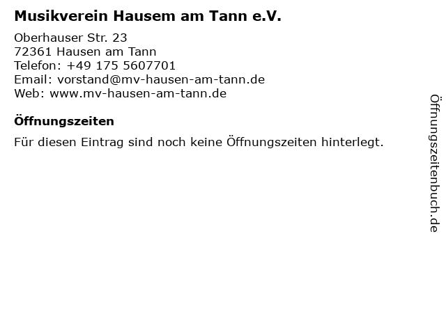 Musikverein Hausem am Tann e.V. in Hausen am Tann: Adresse und Öffnungszeiten