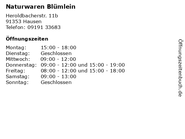 Naturwaren Blümlein in Hausen: Adresse und Öffnungszeiten