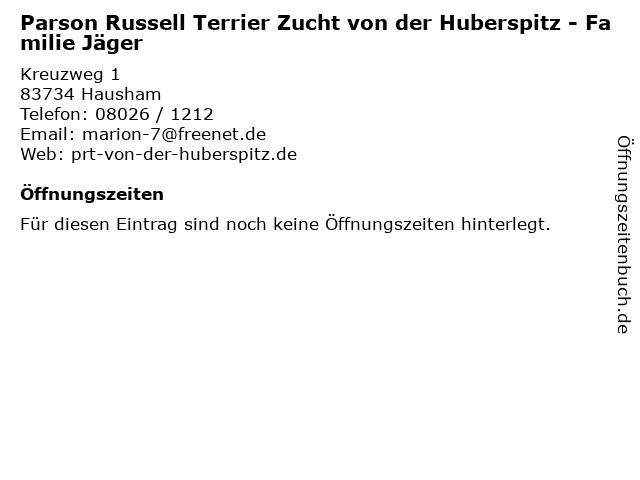 Parson Russell Terrier Zucht von der Huberspitz - Familie Jäger in Hausham: Adresse und Öffnungszeiten