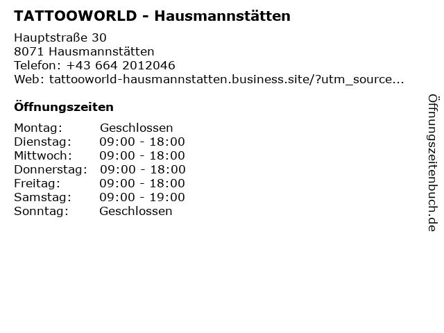 TATTOOWORLD - Hausmannstätten in Hausmannstätten: Adresse und Öffnungszeiten