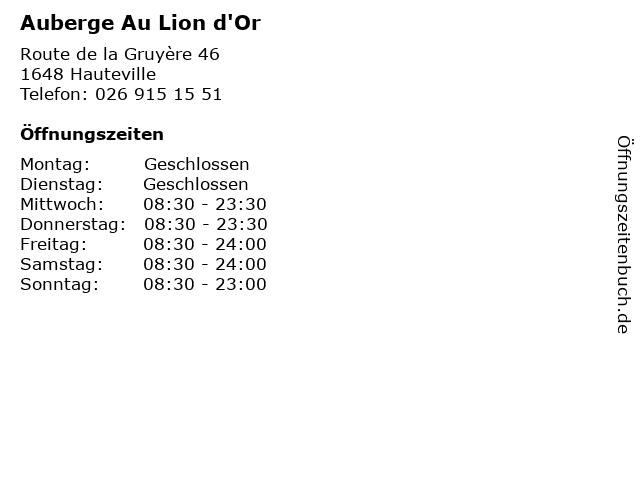 Auberge Au Lion d'Or in Hauteville: Adresse und Öffnungszeiten