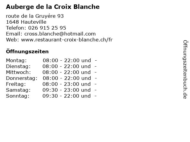 Auberge de la Croix Blanche in Hauteville: Adresse und Öffnungszeiten