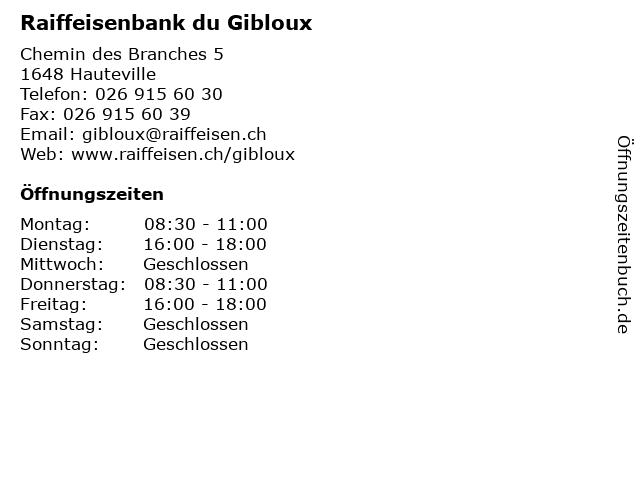 Raiffeisenbank du Gibloux in Hauteville: Adresse und Öffnungszeiten